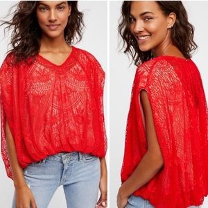 NWOT Free People Oversized Lace Top